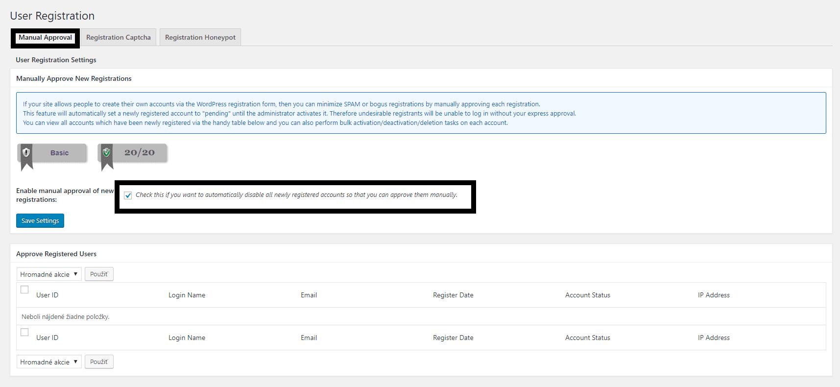 manuálne potvrdenie registrácie užívateľa