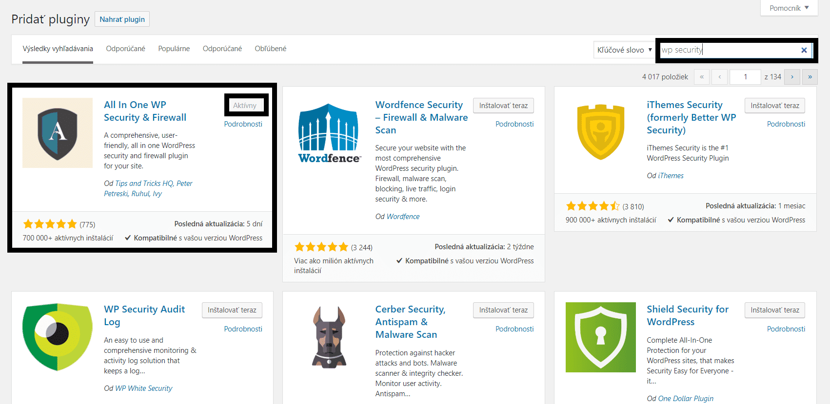 inštalácia wp security plugin