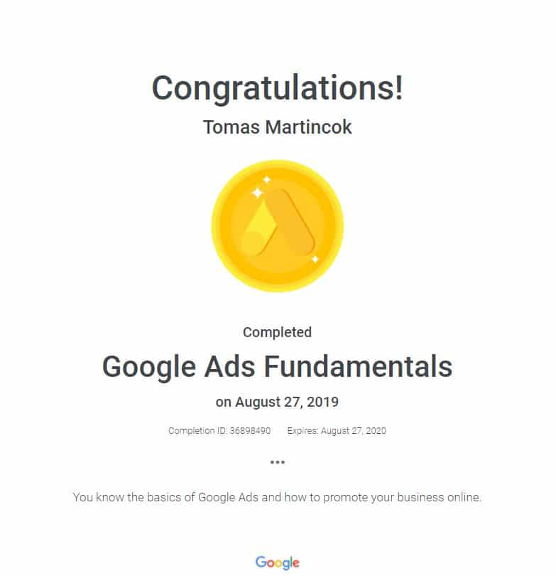 google ads fundamentals certifikát