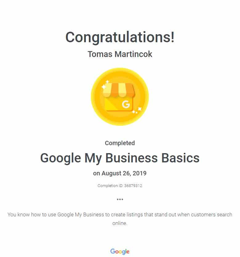 google my business certifikát