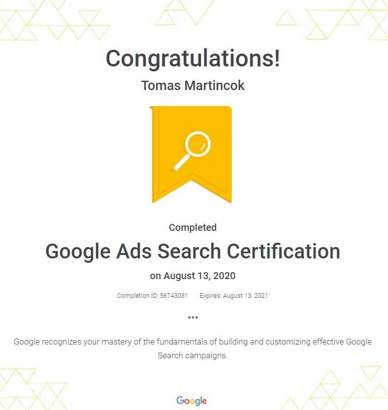 google search certifikát